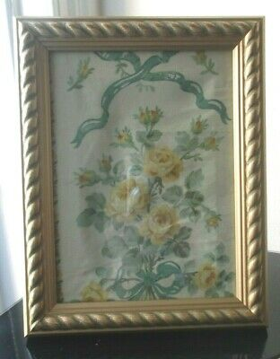Antique Vintage  Framed French Yellow Roses & Ribbons Design Fabric