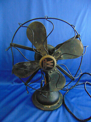 """Antique Westinghouse table top 10"""" fan 4 blades adjustable head need rewiring"""