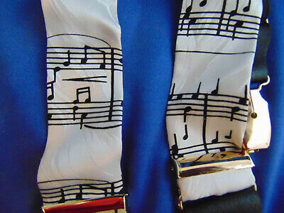 4 pairs Suspenders Musical Notes Black White Blue adjustable casual fancy dress