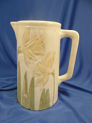 Vintage Quart Yellow Daffodil Flower Art Pitcher Wheeling Pottery Co. early 1900