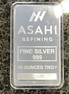 ASAHI 10 oz SILVER BAR .999 FINE (Serialized) IN AIR-TITE (10 TROY OUNCES)