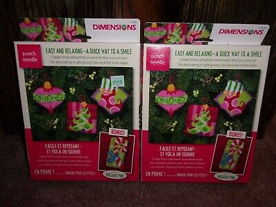 Christmas Holiday Ornaments Dimensions Punch Needle Kit Lot of 2 NIB!!!