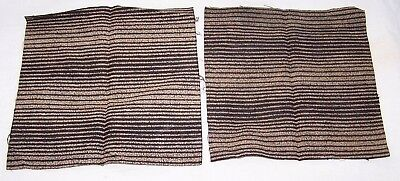 2 PCS ANTIQUE COTTON FABRIC-EARLY 1900's-STRIPE-BLACK-OFF WHITE-RESTORE-REPAIR