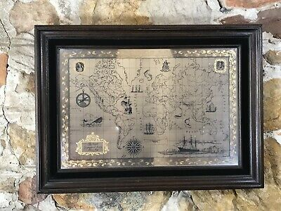 Franklin Mint Royal Geographical Society Sterling Silver Map~Framed~1976