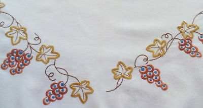 VINTAGE Hand Embroidered Linen Tablecloth / Supper Cloth GRAPEVINE DESIGN
