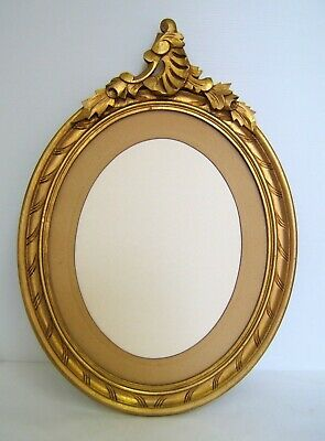 Frame Oval Wood Golden Louis XV Style Rockery for Watercolour or Mirror