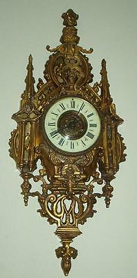 "ANTIQUE French GOTHIC BRONZE CARTEL Cathedral LARGE 26"" wall clock HEAVY!"