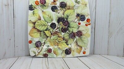 """Square Plate 10 2/4"""" Italian Ceramic Company ICC Grapes, leaves, butterfly, bee"""