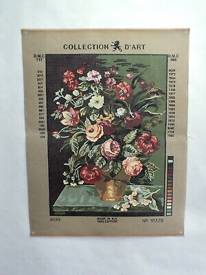 """Vintage Tapestry needlepoint canvas Large 18"""" X 13"""" Flowers Floral Roses Bouquet"""