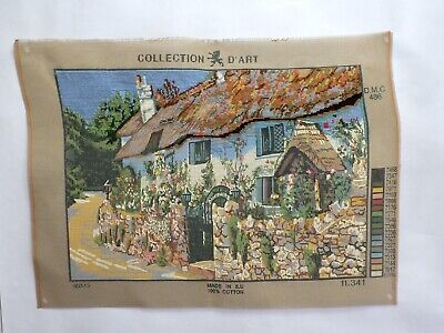"""Vintage Tapestry needlepoint canvas Large 19"""" X 13"""" Country Cottage"""