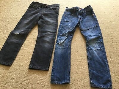 Two Pairs Boy's Jeans In Size Age 7 And 7-8 Yrs Next And M&S