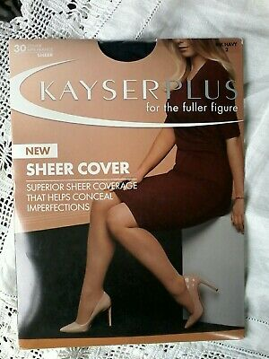 Kayser Plus Sheer Cover Stockings Ink Navy Size 2 Unopened