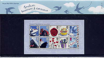 GB 2010 BUSINESS & CONSUMER SMILERS MINIATURE SHEET PRESENTATION PACK No.M19