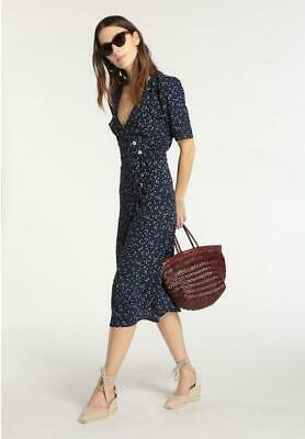 Ladies French Retro Style V-neck Floral Dresses Elegant Slim Fit Dresses Holiday