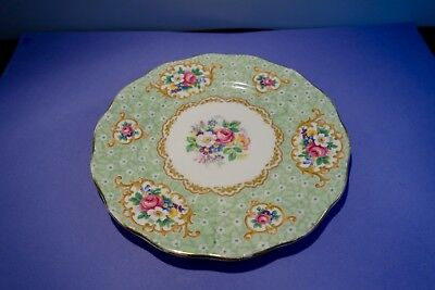 Queen Anne Gainsborough Fine Bone China green / floral /gilt  saucer vintage 7