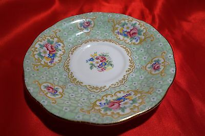 Queen Anne Gainsborough Fine Bone China green / floral /gilt  saucer vintage 6