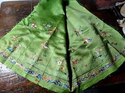 A 19th C Green Silk Chinese Textile Fragment with Silk Embroidery