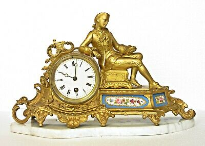 Antique S.marti French Ormolu Mantel Clock Sevres Porcelain Panels, Marble Stand