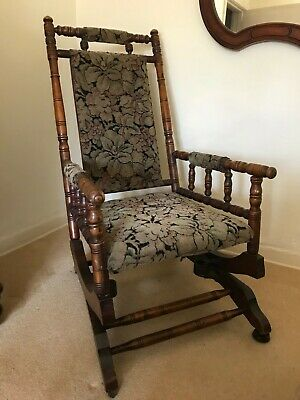 Antique American-Style Rocking Chair vintage chenille fabric