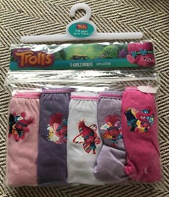 BNWT Girls 5 Pack Trolls Patterned Pink Mix Pants. Age 7-8 Years