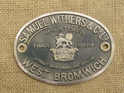Vintage Brass Safe Plate Sign By Samuel Withers West Bromwich England.