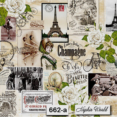 (662-a) TWO Individual Paper Luncheon Decoupage Napkins - VINTAGE PARIS COLLAGE