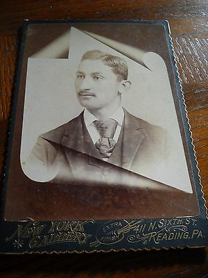 Antique Young Man Memorial Cabinet Photograph