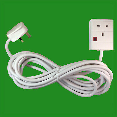 2x 5m White 1 Way Extension Lead Cable 13A 3 Pin UK Socket With Neon Light