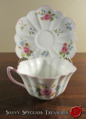 Shelley England Stratford Rose & Red Daisy Cup and Saucer Set