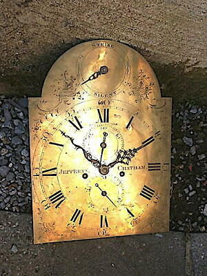 C1790 strike sielent 8 day LONGCASE GRANDFATHER CLOCK DIAL+movement 12X16+12