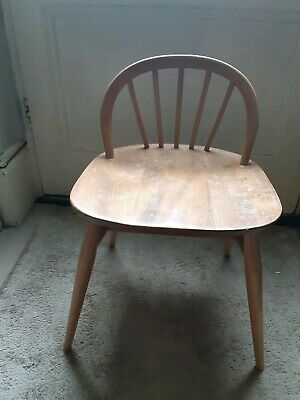 Rare Vintage Blonde Ercol Dressing Table Chair model No. 414
