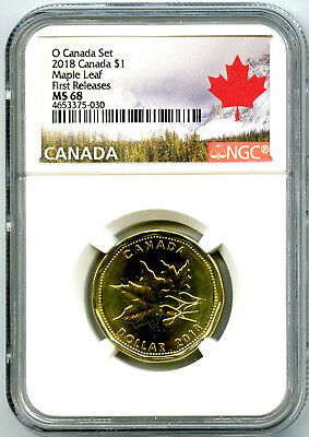2018 O Canada $1 Ngc Ms68 Maple Leaf Loon Loonie First Releases Dollar Rare Pop9