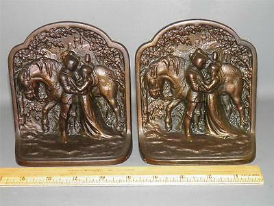 Antique Pair Bronzed Cast Iron Bubley Figural Horse Bookends