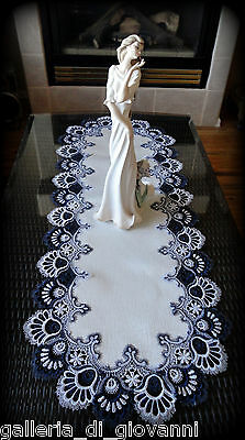 Dresser Scarf Delicate Trim BLUEBERRY BLUE Lace Table Runner Doily  44""