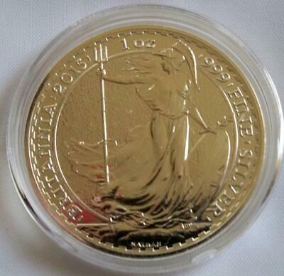 2015 Great Britain Britannia £2 Two Pound 1 oz. Silver Coin 24K Gold Gilded