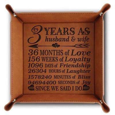 Bella Busta- 3 years Anniversary gift- 2017-2020-Engraved Leather Tray (Rawhide)