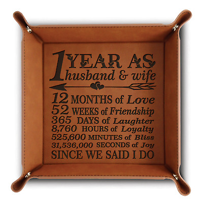 Bella Busta-Engraved-1st anniversary gifts - Leather Valet Tray(Rawhide)