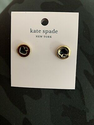 Authentic Kate Spade New York black Spot the Spades round studs Earrings gold