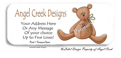Soooo Adorable Primitive Country Teddy Bear Personalized Return Address Labels