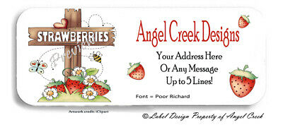 Cute Country Prim Strawberry Strawberries Personalized Return Address Labels
