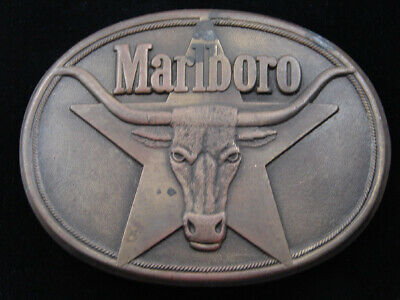 Re05144 Vintage 1987 **Marlboro** Cigarettes & Tobacco Solid Brass Belt Buckle