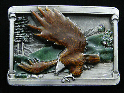 RF15111 VINTAGE 1980s **AMERICAN BALD EAGLE** COMMEMORATIVE PEWTER BELT BUCKLE