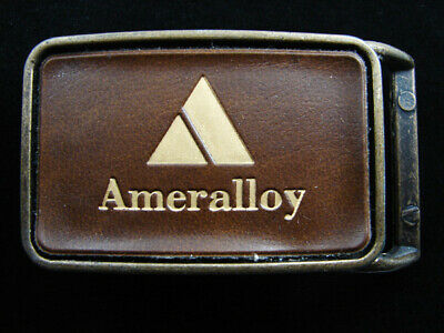 RF01105 VINTAGE 1970s **AMERALLOY** ADVERTISEMENT BELT BUCKLE