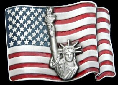 RG20192 *NOS* 1980s ***AMERICAN FLAG AND STATUE OF LIBERTY*** PEWTER BUCKLE