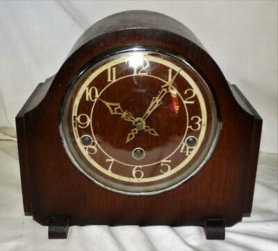 VINTAGE ENFIELD LONDON OAK CASED WESTMINSTER MANTEL CLOCK,COLLECTIBLE c1930s