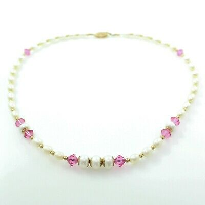 Antique Vintage Retro Style 14k Gold Filled Freshwater Pearl Pink Glass Necklace