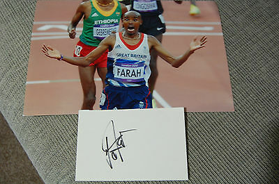 Mo Farah London 2012 & 16 Champion 12X8 Photo With Signed Card 1