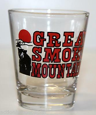 SHOT GLASS GREAT SMOKY MOUNTAINS with a bear, raccoon & mountains