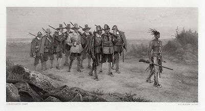 "LOOK George Henry Boughton SIGNED 1800s Engraving ""March of Miles Standish"" COA"