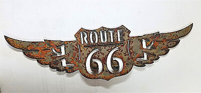10 inch Rusty Rough Route Rt 66 w Wings Mother Road Shield Sign Metal Wall Art